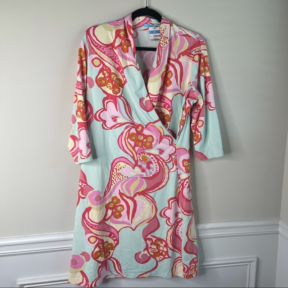 J McLaughlin Panama Wrap dress Catalina cloth L